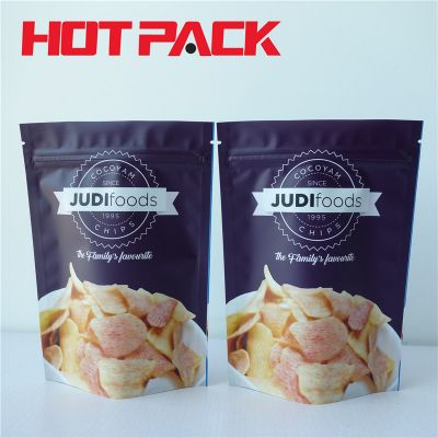 Food packaging pouch for snack food package bag with zipper